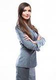 Business woman crossed arms against white background Stock Photo