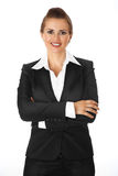 Business woman with crossed arms on chest. Modern business woman with crossed arms on chest isolated on white royalty free stock photography