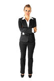 Business woman with crossed arms on chest isolated Stock Images