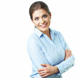 Business woman crossed arms. Isolated white backgr Royalty Free Stock Images