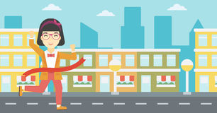 Business woman crossing finish line. Royalty Free Stock Photo