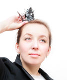 Business woman with a crown on a head Royalty Free Stock Image