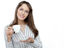 Business woman with cup stock photos