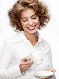 Business woman with cup Royalty Free Stock Photography