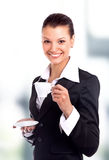 Business woman with cup Royalty Free Stock Photos