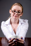 Business woman with a cup of coffee in hand Stock Image