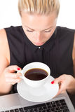 Business woman with cup of coffee. Stock Image