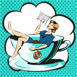 Business woman in cup of coffee reading document pop art comic Stock Photo