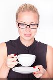 Business woman with cup of coffee. Royalty Free Stock Image
