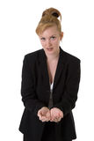 Business woman with cupped hands Royalty Free Stock Image