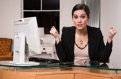 Business Woman Customer Service Center Angry Facial Expression Royalty Free Stock Photo