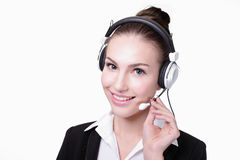 Business Woman customer service worker. Call center smile operator with phone headset. isolated on white background, caucasian Royalty Free Stock Images