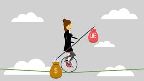 Business woman cyling on a rope with balancing between money and life