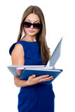 Business woman in dark glasses Stock Images