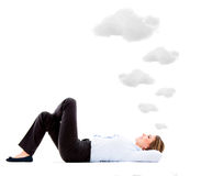 Business woman daydreaming Royalty Free Stock Images