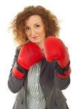 Business woman defending Stock Image