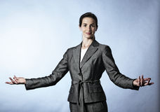 Business woman demonstrating a concept. Royalty Free Stock Photography