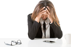Business Woman Depressed At The Office Stock Image
