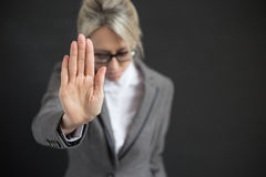 Business woman in depression. Say no concept Royalty Free Stock Photo