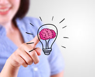 Business woman designate a lamp of idea with brain Stock Images