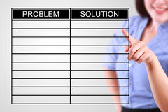 Business woman designed problem and solution list Royalty Free Stock Photography