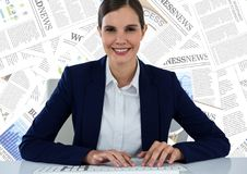 Business woman at desk against document backdrop Stock Images