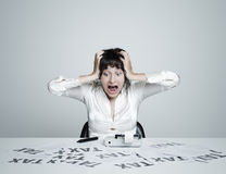 Business woman desperate Royalty Free Stock Photo