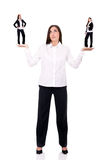 Business woman with devil and angel Stock Photography