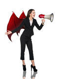 Business woman devil screams to megaphone Royalty Free Stock Image