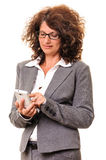 Business woman dialing smart phone Royalty Free Stock Photos