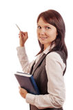 Business woman with diary, shows Royalty Free Stock Photo