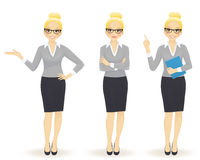 Business woman in different poses Stock Images