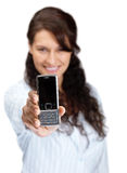Business woman displaying a cellphone on white Stock Photos