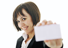 Business  woman displaying empty business card Stock Photo