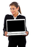 Business woman displaying a laptop Royalty Free Stock Image