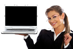Business woman displaying a laptop Royalty Free Stock Photography