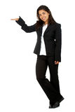 Business woman displaying something Stock Image