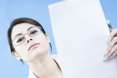 Business woman disturbed from work Royalty Free Stock Photography