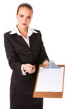 Business woman with documen for signing Stock Photo