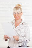 Business woman with document Royalty Free Stock Photo