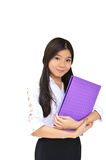 Business woman with document file Stock Photo