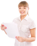 Business woman with documents Stock Photos