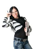 The business woman with documents Stock Images