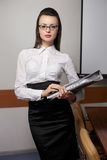 Business woman with  documents in the office Stock Images