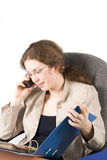 The business woman with a documents and phone Stock Image