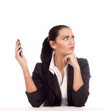 Business woman doesn't want to talk with someone Stock Photos