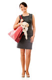 Business woman with a dog Stock Photo