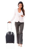 Business woman doing check-in online Royalty Free Stock Images
