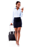 Business woman doing check-in online Royalty Free Stock Photos