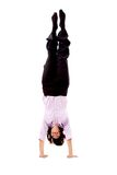 Business woman doing the handstand Royalty Free Stock Photos